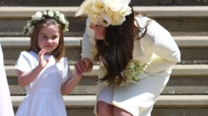 Princess charlotte waving the newlyweds