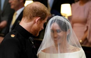 Prince Harry and Meghan Markle in St George's Chapel.
